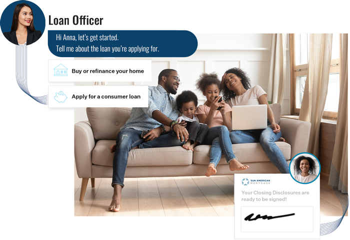 Loan Officer helping family out with mortgage online